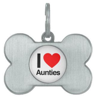i love aunties pet ID tags