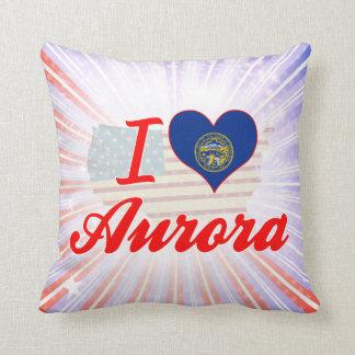 I Love Aurora, Nebraska Throw Pillow