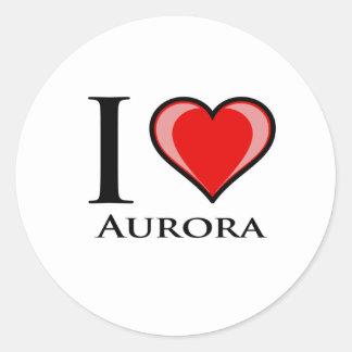 I Love Aurora Round Stickers