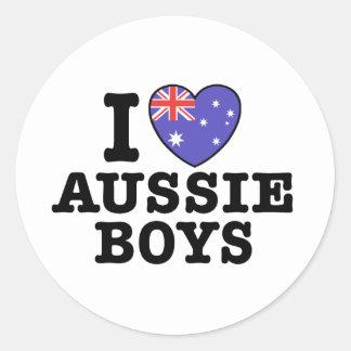 I Love Aussie Boys Round Sticker