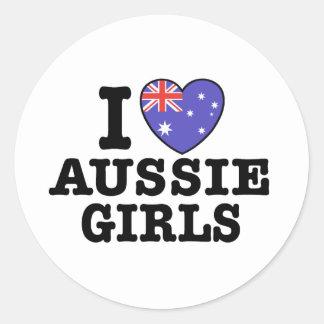 I Love Aussie Girls Round Stickers
