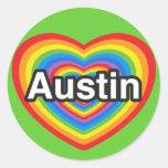 I love Austin. I love you Austin. Heart Classic Round Sticker