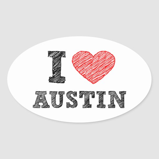 I Love Austin Oval Sticker