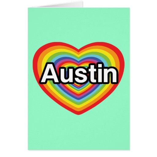 I love Austin, rainbow heart Card