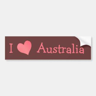 I Love Australia Car Bumper Sticker
