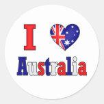 I Love Australia Classic Round Sticker
