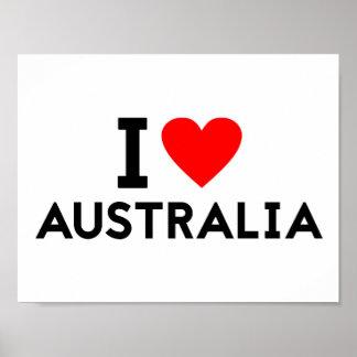 i love Australia country nation heart symbol text Poster