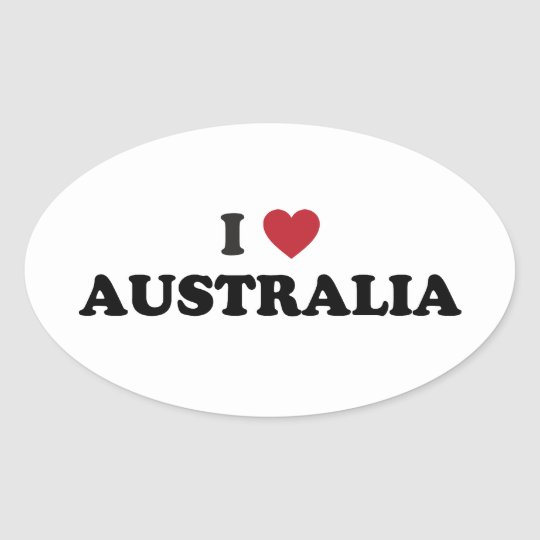 I Love Australia Oval Sticker