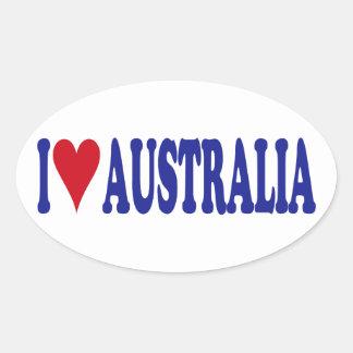 I Love Australia Oval Stickers