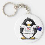 I Love Australia Penguin Keychain
