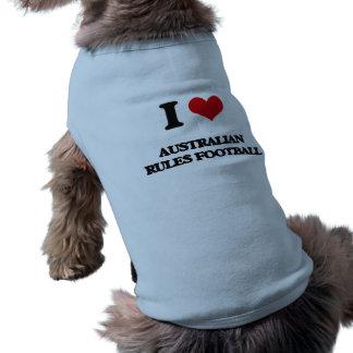 I Love Australian Rules Football Dog Tee Shirt