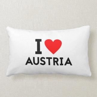 i love Austria country nation heart symbol text Lumbar Pillow