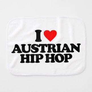 I LOVE AUSTRIAN HIP HOP BABY BURP CLOTHS