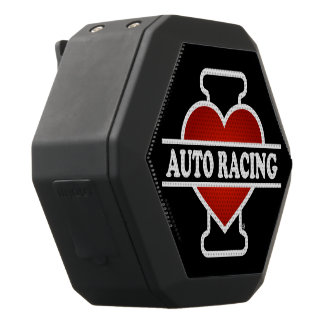 I Love Auto Racing Black Bluetooth Speaker
