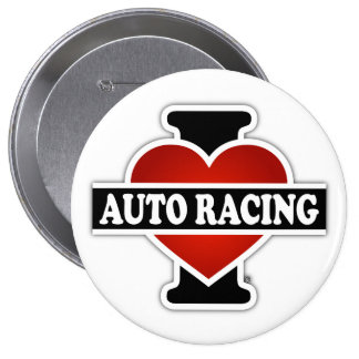 I Love Auto Racing Button