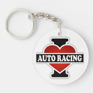 I Love Auto Racing Single-Sided Round Acrylic Keychain