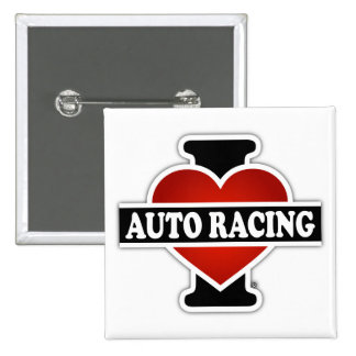 I Love Auto Racing Pinback Button