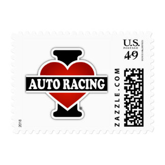 I Love Auto Racing Postage