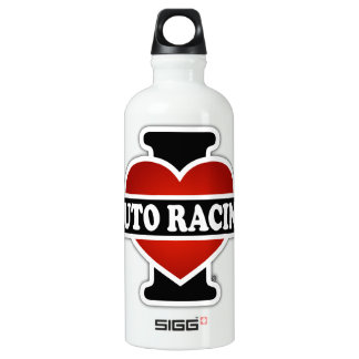 I Love Auto Racing Water Bottle
