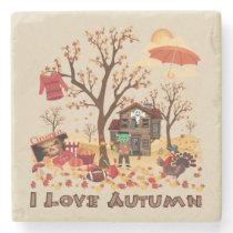 I Love Autumn - Fall Elements and Scenery Stone Coaster
