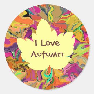 i love autumn leaf classic round sticker