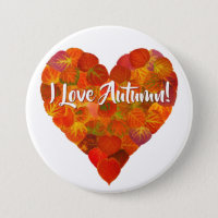 I Love Autumn!—Red Aspen Leaf Heart 1 Pinback Button