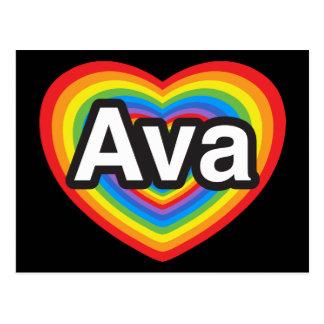 I love Ava. I love you Ava. Heart Postcard