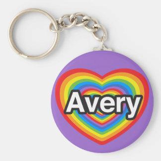 I love Avery. I love you Avery. Heart Basic Round Button Keychain