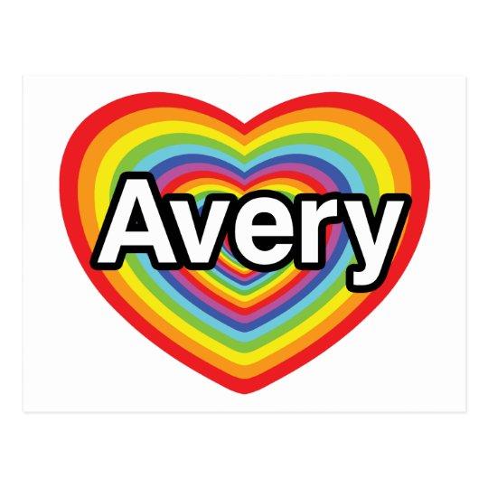 I love Avery, rainbow heart Postcard