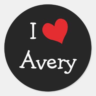 I Love Avery Round Sticker