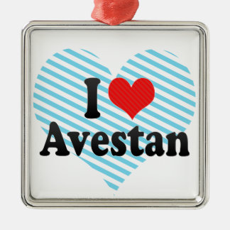 I Love Avestan Square Metal Christmas Ornament