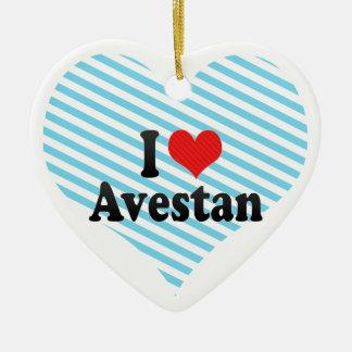 I Love Avestan Double-Sided Heart Ceramic Christmas Ornament