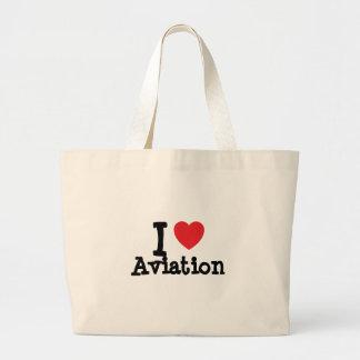 I love Aviation heart custom personalized Bags