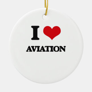 I Love Aviation Double-Sided Ceramic Round Christmas Ornament