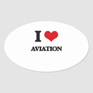 I Love Aviation Oval Stickers