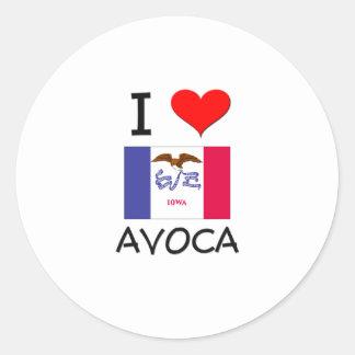 I Love AVOCA Iowa Round Stickers