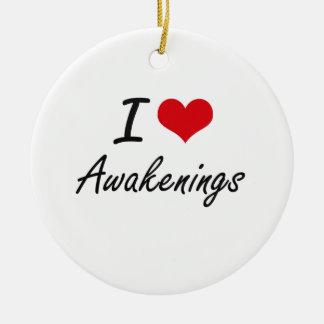 I Love Awakenings Artistic Design Double-Sided Ceramic Round Christmas Ornament