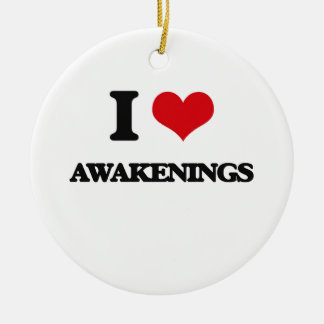I Love Awakenings Double-Sided Ceramic Round Christmas Ornament