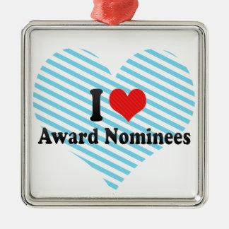 I Love Award Nominees Square Metal Christmas Ornament