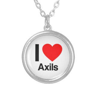i love axils round pendant necklace