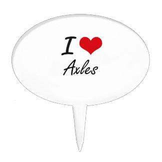 I Love Axles Artistic Design Cake Topper
