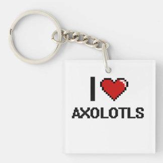 I love Axolotls Digital Design Single-Sided Square Acrylic Keychain