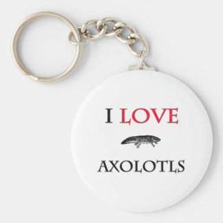 I Love Axolotls Keychain