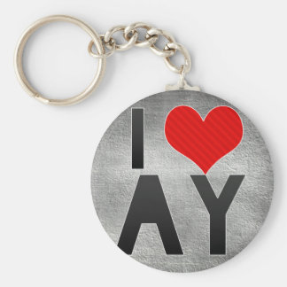 I Love AY Basic Round Button Keychain