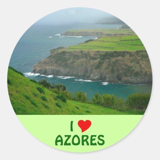 I Love Azores Round Sticker