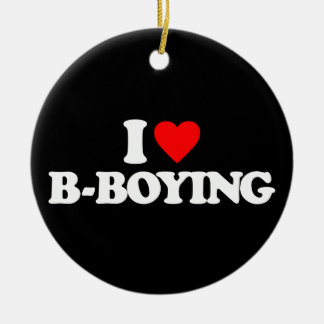 I LOVE B-BOYING Double-Sided CERAMIC ROUND CHRISTMAS ORNAMENT