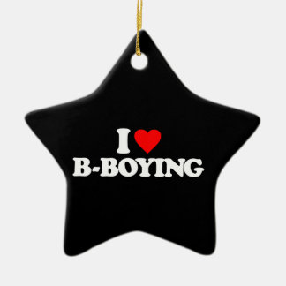 I LOVE B-BOYING Double-Sided STAR CERAMIC CHRISTMAS ORNAMENT