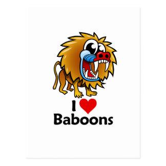 I Love Baboons Postcard