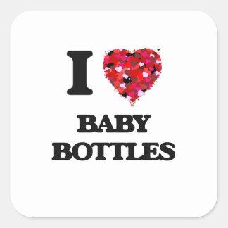 I Love Baby Bottles Square Sticker