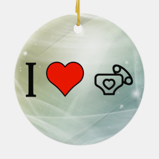 I Love Baby Diapers Double-Sided Ceramic Round Christmas Ornament
